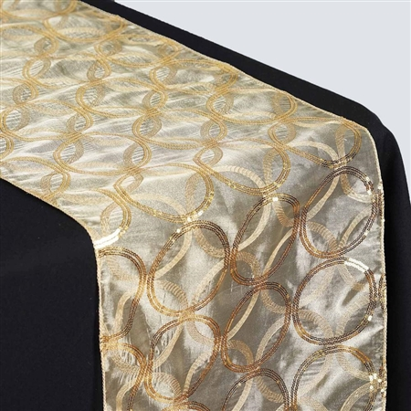 "108x12"" Gold Sequin Circle Designs Table Runners"