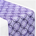 "108x12"" Purple Sequin Circle Designs Table Runners"