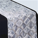 "108x12"" White Sequin Circle Designs Table Runners"