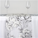 White Sheer Organza Runner with White Rose Design