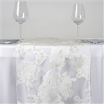 White Sheer Organza Runner with White Peony Design