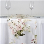 White Sheer Organza Runner with Blush Rose Design