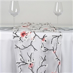 White Sheer Organza Runner with Cherry Blossom Design