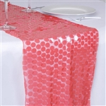 "13"" x 108"" Premium Payette Sequin Table Top Runner - Coral"