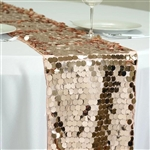 "13"" x 108"" Premium Payette Sequin Table Top Runner - Blush/Rose Gold"