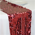 "13"" x 108"" Premium Payette Sequin Table Top Runner - Burgundy"