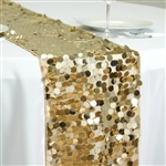 "13"" x 108"" Premium Payette Sequin Table Top Runner - Champagne"