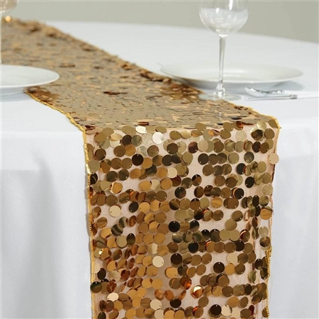 "13"" x 108"" Premium Payette Sequin Table Top Runner - Gold"