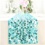 "13"" x 108"" Premium Payette Sequin Table Top Runner - Turquoise"