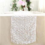 "13"" x 108"" Premium Payette Sequin Table Top Runner - White"