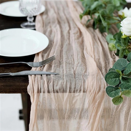 10FT Blush/Rose Gold Cheesecloth Table Runner, Gauze Fabric Boho Wedding Arbor Decor
