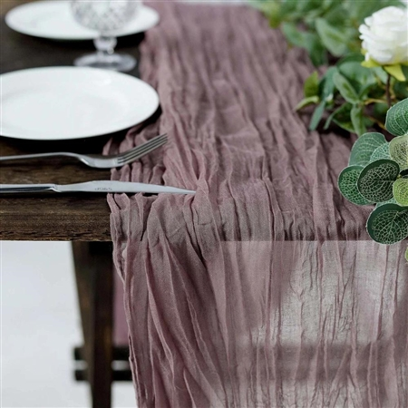 10FT Amethyst  ory Cheesecloth Table Runner, Gauze Fabric Boho Wedding Arbor Decor