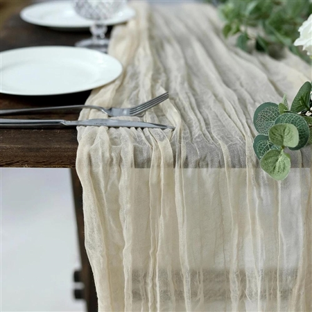 10FT Cream Cheesecloth Table Runner, Gauze Fabric Boho Wedding Arbor Decor