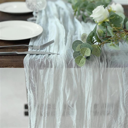 10FT White Cheesecloth Table Runner, Gauze Fabric Boho Wedding Arbor Decor