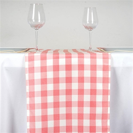 "14"" x 108"" Rose Quartz/White Gingham Checkered Polyester Dinner Party Runner"