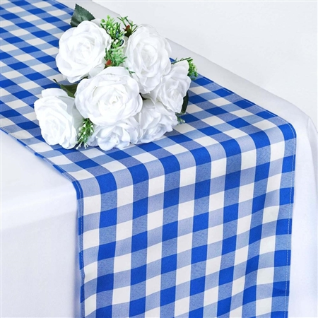 "14"" x 108"" Light Blue/White Gingham Checkered Polyester Dinner Party Runner"