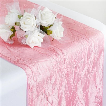 Crinkle Taffeta Table Runner - Rose Quartz