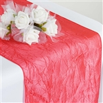 Crinkle Taffeta Table Runner - Coral