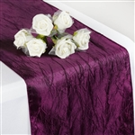 Crinkle Taffeta Table Runner - Eggplant