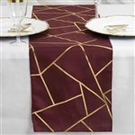 9FT Burgundy Geometric Table Runner With Gold Foil Patterns