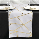9FT White Geometric Table Runner With Gold Foil Patterns