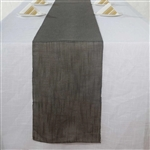 "12""x108"" Charcoal Gray Slubby Textured Wrinkle Resistant Table Runner"