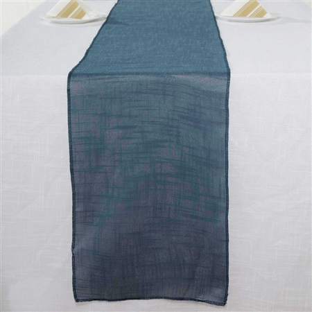 "12""x108"" Blue Slubby Textured Wrinkle Resistant Table Runner"