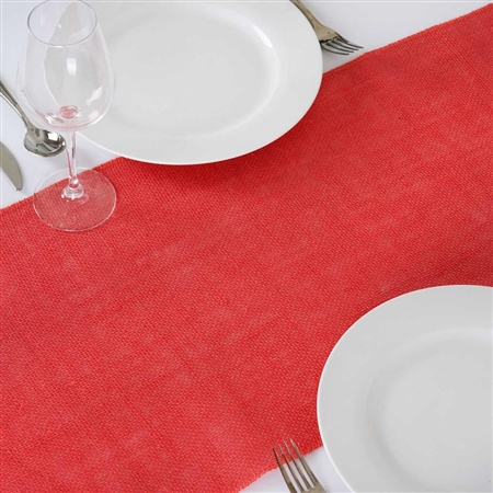 "14""x108"" Coral Rustic Burlap Table Runner"