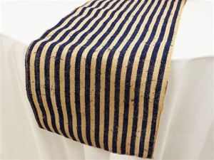 Stripe Rustic Burlap Runner - Natural Tone w/ Navy Blue