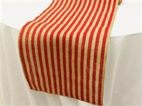 Stripe Rustic Burlap Runner - Natural Tone w/ Red