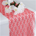Floral Lace Table Runner - Coral