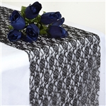 Floral Lace Table Runner - Black