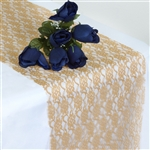Floral Lace Table Runner - Gold