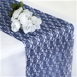 Floral Lace Table Runner - Navy Blue