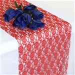 Floral Lace Table Runner - Red