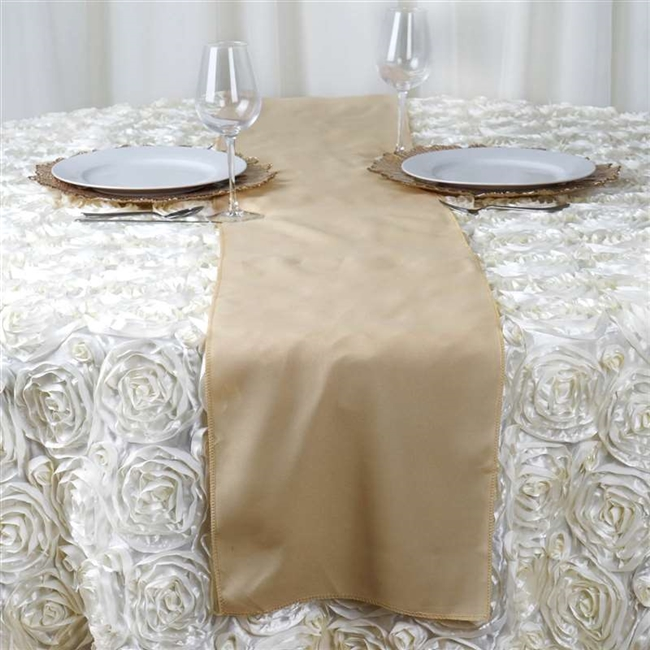 Buy champagne polyester runner online bulk rates champagne polyester runner table top wedding catering party decorations junglespirit Image collections