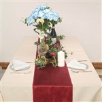 "12"" x 107"" Econoline Velvet Table Runner - Wine"