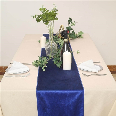 "12"" x 107"" Econoline Velvet Table Runner - Royal Blue"