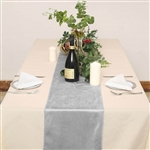 "12"" x 107"" Econoline Velvet Table Runner - Silver"