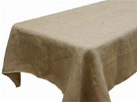 "Rustic Burlap 90""x132"" Natural Rectangle Tablecloth"