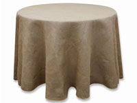 "Rustic Burlap 120"" Natural Round Tablecloth"