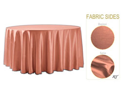 "Rental - Satin Dupioni - 132"" Round Tablecloth (Dupioni side up)"