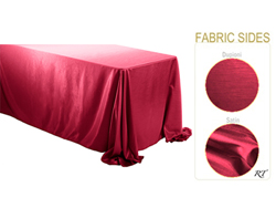 "Rental - Satin Dupioni - 90"" x 132"" Rectangular Tablecloth - Rounded Corners"