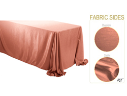 "Rental - Satin Dupioni - 90"" x 156"" Rectangular Tablecloth - Rounded Corners"