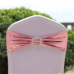 Metallic Spandex Chair Sashes with Attached Round Diamond Buckles - 5 Pack - Blush/Rose Gold