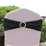 Metallic Spandex Chair Sashes with Attached Round Diamond Buckles - 5 Pack - Black