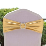 Metallic Spandex Chair Sashes with Attached Round Diamond Buckles - 5 Pack - Gold
