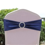 Metallic Spandex Chair Sashes with Attached Round Diamond Buckles - 5 Pack - Navy Blue
