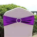 Metallic Spandex Chair Sashes with Attached Round Diamond Buckles - 5 Pack - Purple