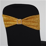 5 PCS Chair Sash Metallic Spandex - Gold